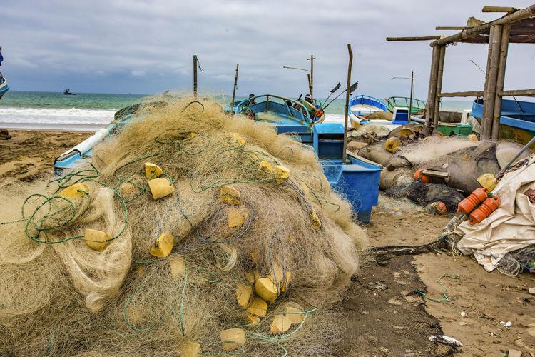 View of fishing net on beach