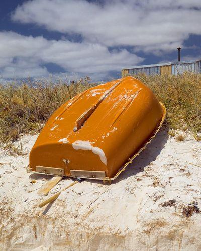 EyeEm Selects Grey Orange Gold Beach Boat Rowboat Upturned Boat Blue Sky WesternAustralia Daylight No People Sand Cloud - Sky Sand Dune Sea Outdoors Day Canon5dmarkiv Canon