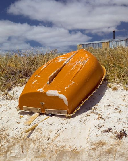 EyeEm Selects Grey Orange Gold Beach Boat Rowboat Upturned Boat Blue Sky WesternAustralia Daylight No People Sand Cloud - Sky Sand Dune Sea Outdoors Day Canon5dmarkiv Canon