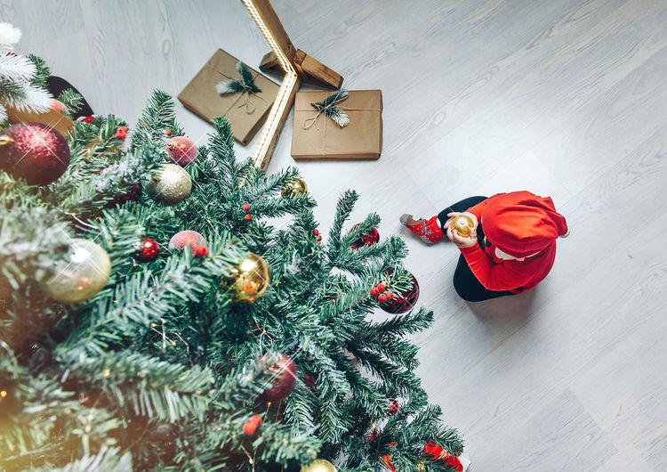 High angle view of christmas tree at home