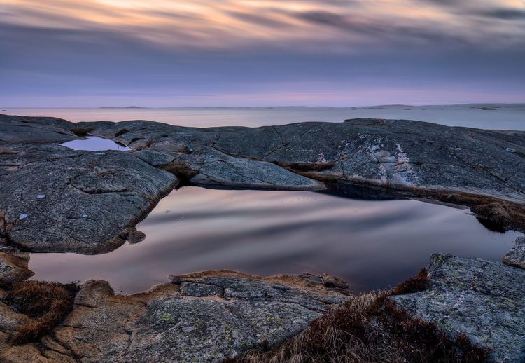 Still Life Sweden Nature Stone Coastline Coast Seascape Seascape Photography Water Sky Beauty In Nature Scenics - Nature Cloud - Sky Nature Tranquility No People Sunset Tranquil Scene Reflection Rock Sea Land Idyllic Outdoors