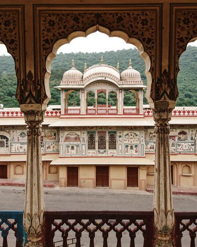 India Jaipur Arch Architectural Column Architecture Balustrade Building Building Exterior Built Structure Craft Day Design Floral Pattern History Nature No People Ornate Outdoors Railing Rajasthan The Past Tourism Travel Travel Destinations Window
