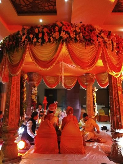 Indian Wedding Mandap Decorations Mandap Bride And Groom Phere Architecture Indoors  Red Indian Culture  Late Night Together Forever Promises  Love And Affection Decor Eyemphotos Flowers Garlands