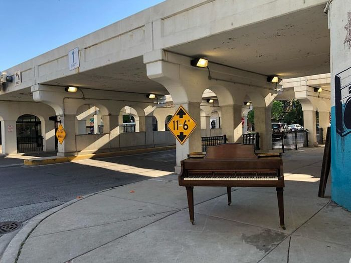 rogerspark sidewalk #Piano #chicao #Chicago #undertrain #trainstop #morse #redline #rogerspark #music #citylife #City #WindyCity #instrument #neighborhood #traintacks #musical #odd #strangething #summet City Architectural Column Architecture Built Structure