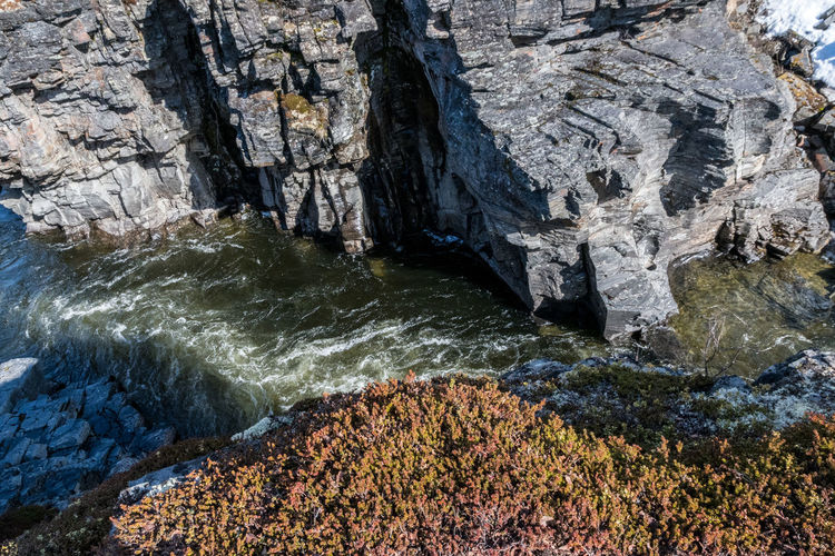 Abisko canyon river gap Abisko Beauty In Nature Cliff Day Nature No People Outdoors Rock - Object Rock Face Rock Formation Scenics Sweden Water Waterfall