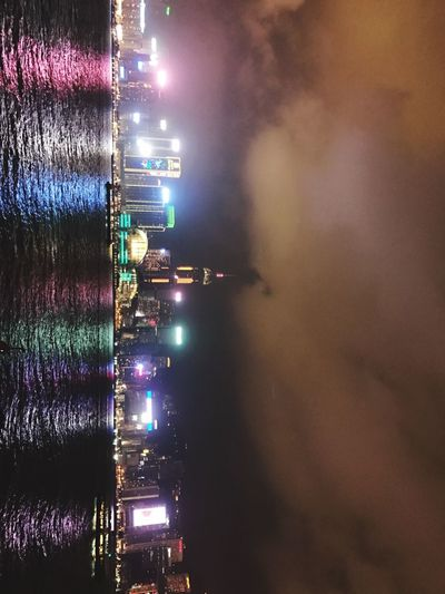 Christmas Decorations Hong Kong Light Illuminated Outdoors Night Harbour