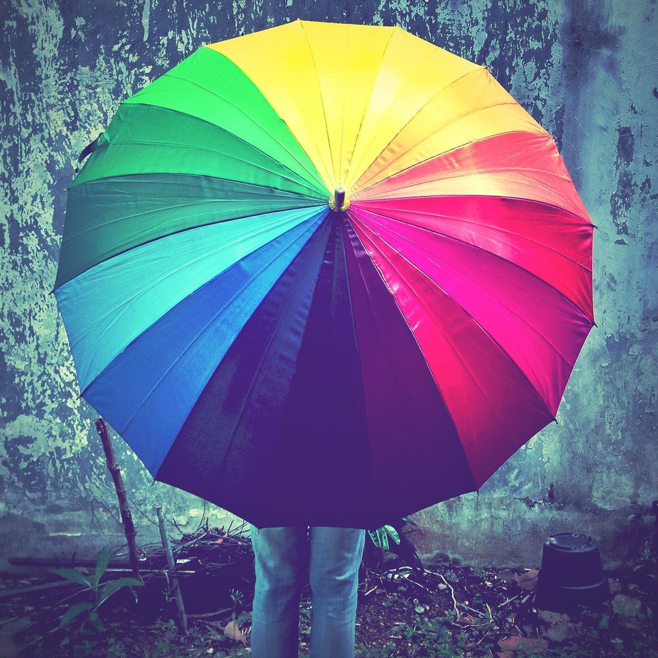 Rear view of person with colorful umbrella