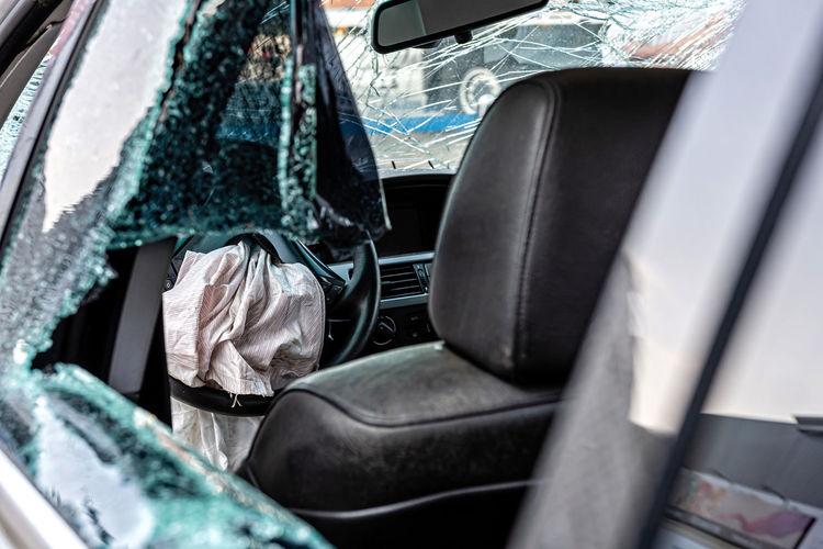 Interior of broken car