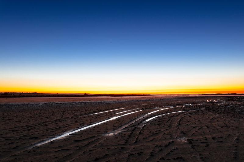 Horizon Over Land Blue No People Environment Landscape Land Salt Lake Sunrise Dawn