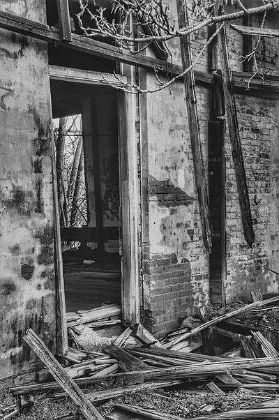 Old doorway building falling down Damaged Bad Condition Abandoned Ruined Architecture House Built Structure Home Interior Obsolete No People Destruction Renovation Indoors  Day Sad & Lonely broken Sad evil Endings & Beginnings Branch Wood - Material