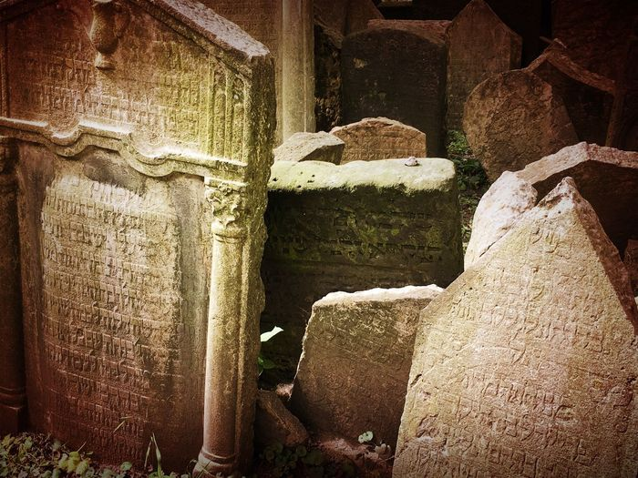 Jewish District Prague Czech Republic Ancient Ancient Civilization Architectural Column Architecture Built Structure Close-up Day Grave History Jewish Cemetery Nature No People Old Outdoors Religion Solid Stone Stone Material The Past Travel Destinations