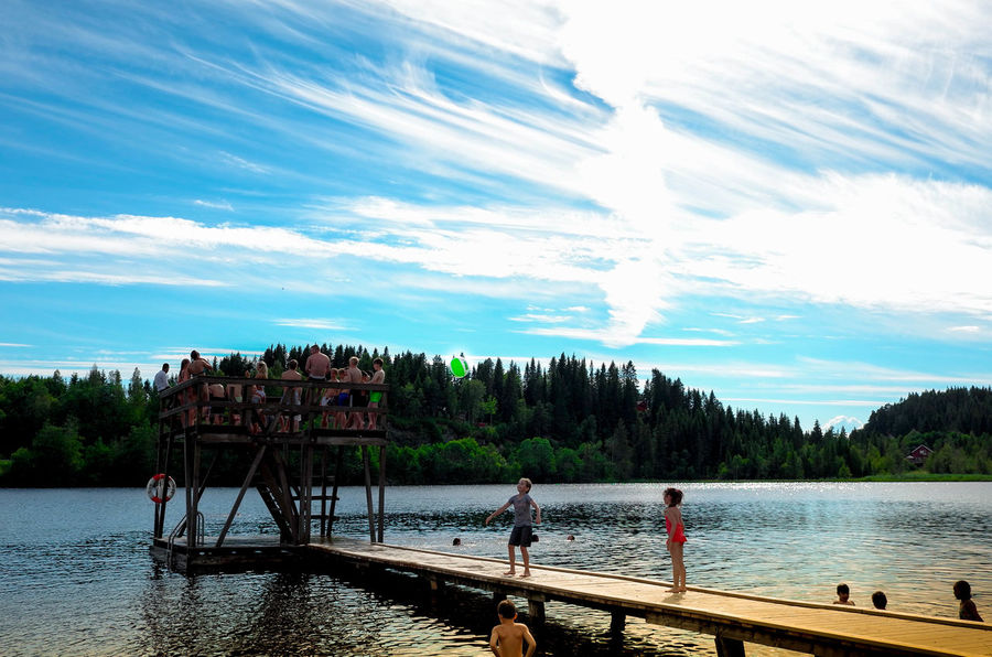 Summer Views Summertime Swimming Beauty In Nature Bridge Childhooddays Children Playing Cloud - Sky Day Enjoyment Forest Forest Photography Lake Leisure Activity Lifestyles Nature Outdoors Real People Scenics Sky Summer Togetherness Tree Vacations Water