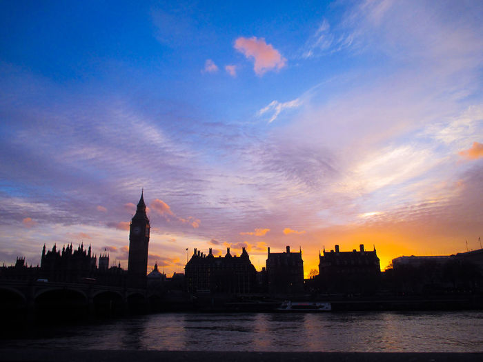 Silhouette buildings by river in city at sunset