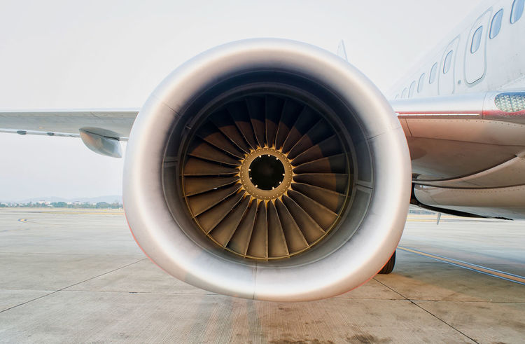 Engine of airplane. Aerospace Industry Air Vehicle Aircraft Wing Airplane Airport Airport Runway Circle Corporate Jet Day Engine Geometric Shape Jet Engine Mode Of Transportation Motion No People Propeller Public Transportation Shape Technology Transportation Travel Wheel