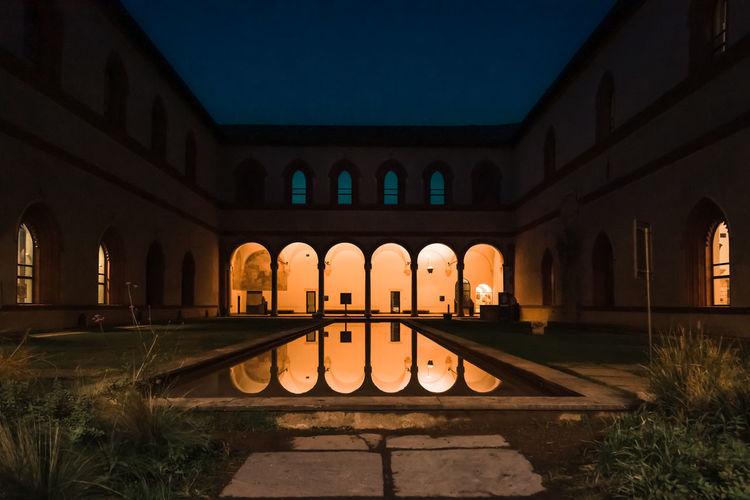 Milan, italy. view of swimming pool at night