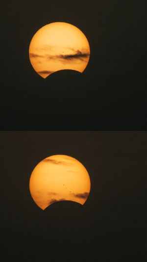 Close-up of yellow moon over black background