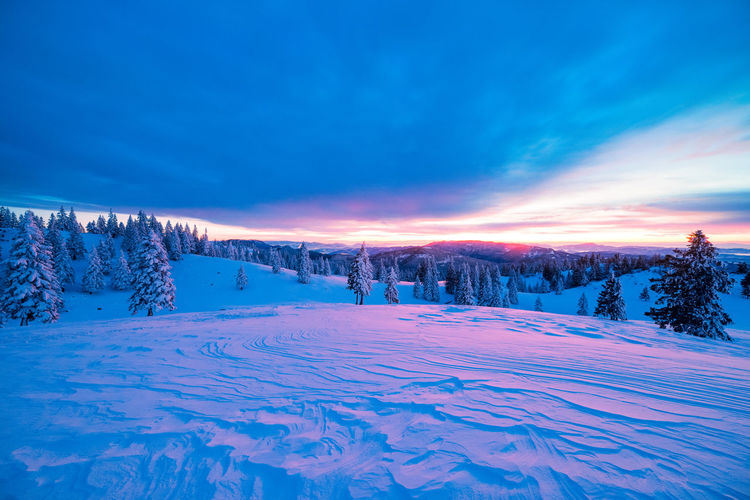 Sunrise at Velika Planina, Slovenia Slovenia Beauty In Nature Cloud - Sky Cold Temperature Colorful Covering Dawn Environment Idyllic Landscape Nature No People Non-urban Scene Plant Powder Snow Scenics - Nature Sky Snow Snowcapped Mountain Sunrise Tranquil Scene Tranquility Travel Destinations Tree Winter