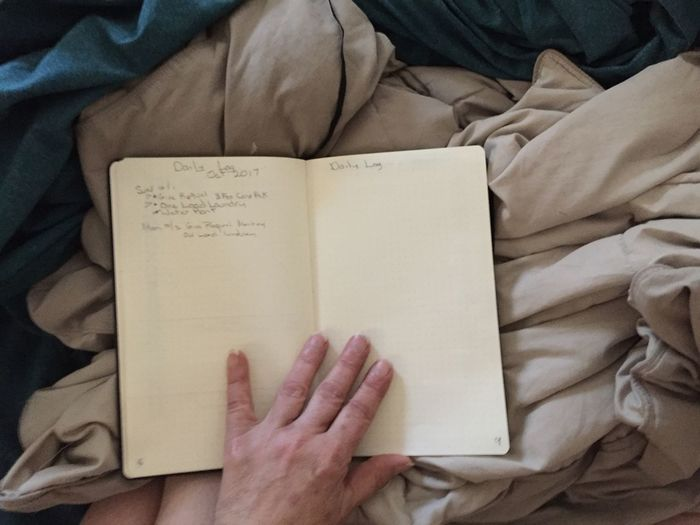 Close-up of person reading book on bed