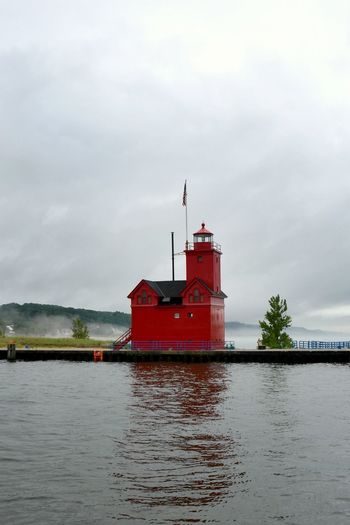 Cloudy Cloudy Day Holland Harbor Light Holland State Park Lake Michigan Lake Michigan Lighthouses Lighthouse Lighthouses Architecture Big Red Lighthouse Building Building Exterior Built Structure Fog Guidance Lighthouse Lighthouses Of Lake Michigan Outdoors Red Lighthouse Tower Waterfront