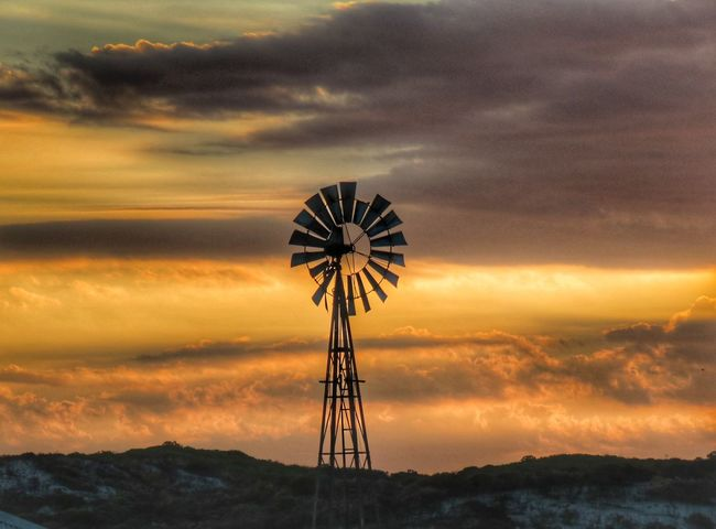 EyeEm Selects Windmill Wind Pump Sunset Clouds And Sky Cloudscape