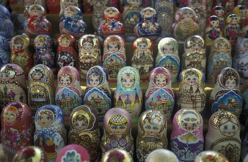 Full Frame Shot Of Matryoshka Doll At Market Stall