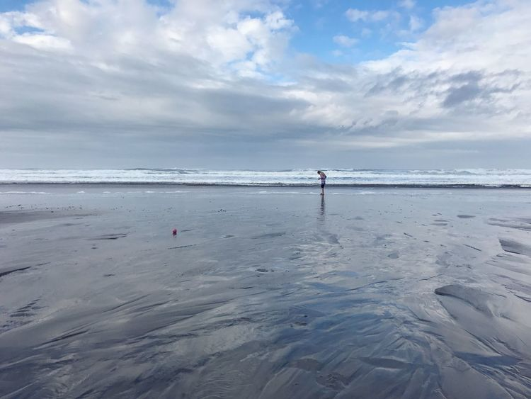 Clouds Wading Reflection Reflections In The Water Seashells Seashell Hunt Girl Horizon Pacific Northwest  Pacific Ocean Oregon Coast Coastline Coast Shore Ocean Sea Beach Land Water Cloud - Sky Sky Horizon Beauty In Nature Outdoors One Person Scenics - Nature Sand Nature