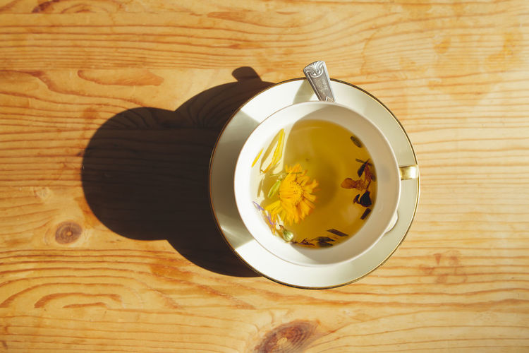 Sunny Dandelion Day Directly Above Drink Healing Herbs Healthy Healthy Lifestyle Herbal Medicine Herbal Tea High Angle View Organic Shadow Summer Sunshine Table Tea - Hot Drink Wooden Background