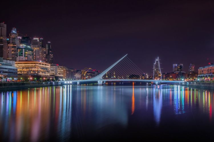 Architecture Blue Buenos Aires Emblematic Places Built Structure City Cityscape Engineering Illuminated Light Long Exposure Modern Night No People Outdoors Puerto Madero, Argentina Reflection River Scenics Sky Standing Water Tranquility Travel Destinations Water Water Surface Waterfront