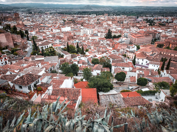 An impression of Granada Cityscape City Landscape Granada, Spain Aerial View Agave Plant Agave Red Roofs Roof Coral Colored Distant Mountains Hills Old Town Crowded SPAIN Tourist Destination Old Europe White And Red Residential District Residential Building Sky Patchwork Landscape Downtown Urban Scene Skyline