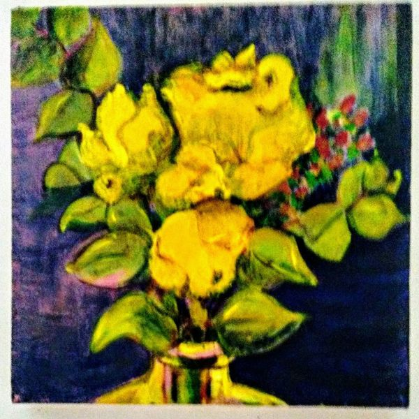 Yellow Roses, 2016 Saint Louis United States Flower Yellow Beauty In Nature Springtime Pattern, Texture, Shape And Form Acrylic Painting Still Life Photo Of