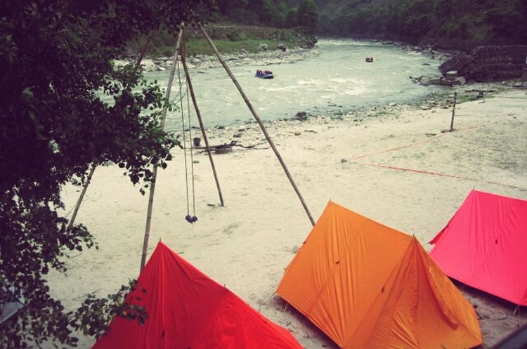 Taking Photos Colorful Tents Riverside Bhotekoshi Sukute Beach Rafting!! Bamboo Swing Camping Out Sand