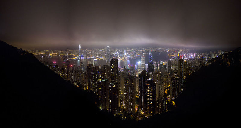 Hong Kong HongKong Aerial View Architecture Bay Building Building Exterior City City Life Cityscape Cloud - Sky Financial District  Illuminated Landscape Luminosity Modern Night No People Office Building Exterior Outdoors Residential District Sky Skyscraper Travel Destinations Urban Skyline