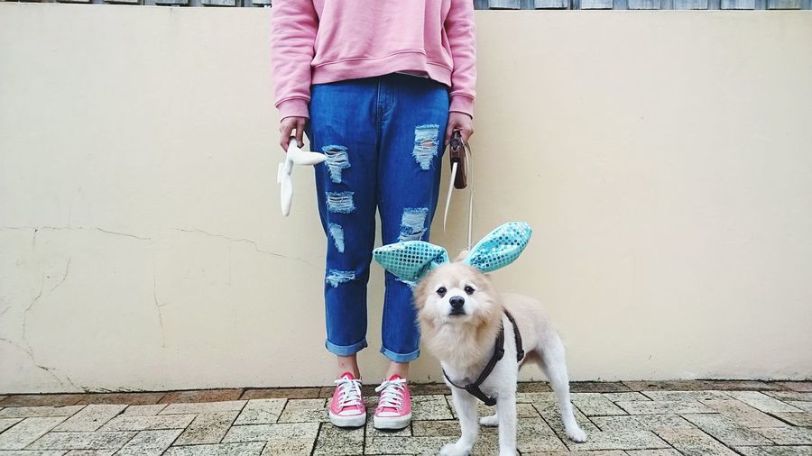 Woman Standing With Dog Against Wall