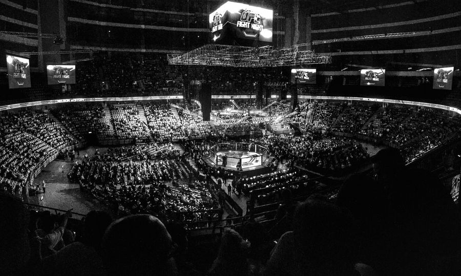 Blackandwhite Monochrome Sports Sport Event UFC MMA Gala Arena Fight Sports Photography Feeling Bring People Together Stockholm Details Light Light And Shadow A Bird's Eye View The Magic Mission Monochrome Photography