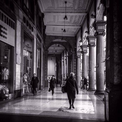 Shadow of woman in corridor