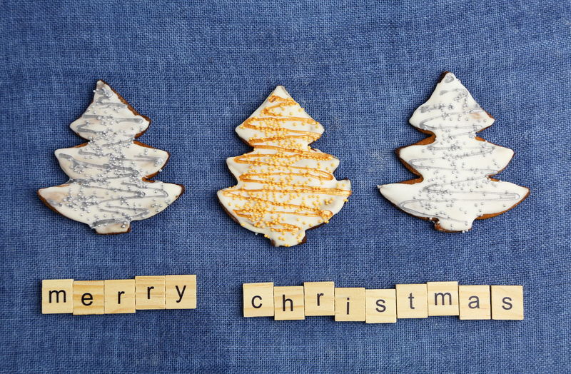 Christmas Cookies Gingerbread Homemade Food Decoration Colorful Colors Sweets Sweet Handmade Blue Background Textured  Text Indoors  Western Script Still Life No People Cookie Sweet Food Food And Drink Textile Baked Shape Close-up Directly Above Communication Capital Letter Table High Angle View Indulgence Temptation Message Blue Background Merry Christmas Trees