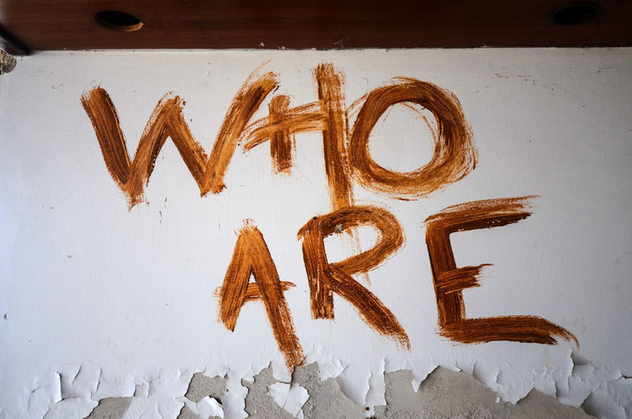 text Paint Text Wall Who Are You ? Alphabet Close-up Cold Temperature Communication Day High Angle View Indoors  No People Text White Color Who