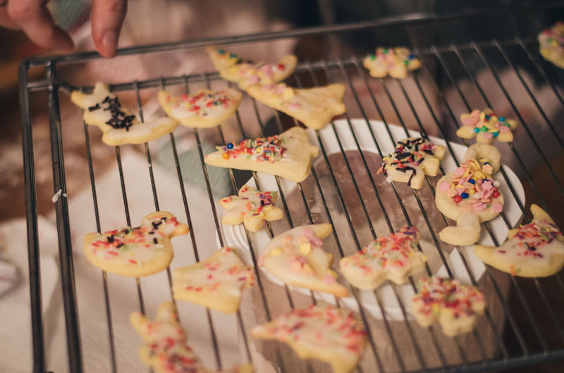 Close-Up Of Cookies On Baking Rack