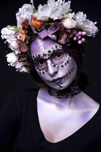 Halloween model with rhinestones Beauty Beauty In Nature Beauty In Nature Bouquet Bunch Of Flowers Close-up Fashion Flower Flower Head Fragility Freshness Halloween Looking At Camera Mask - Disguise Model Petal Rhinestone Studio Shot