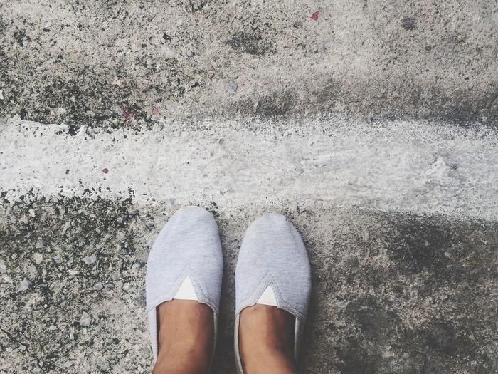 Standing White LINE Road Concrete