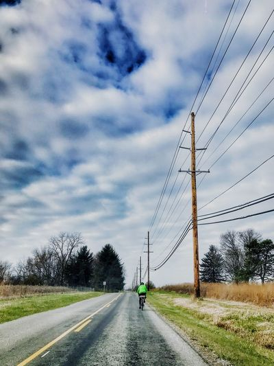 bike ride Sky Cable Cloud - Sky Transportation Power Line  Electricity  Mode Of Transport Power Supply Outdoors Road The Way Forward Land Vehicle Connection Electricity Pylon Day Telephone Line Nature No People Telephone Pole Architecture