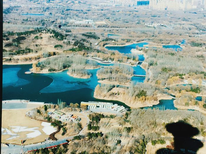 Looking Down From Above Olympic Tower Olympic Park  Lake And Trees Wintertime Beijing Shadow Of Tower Teal Blue Water Flying High