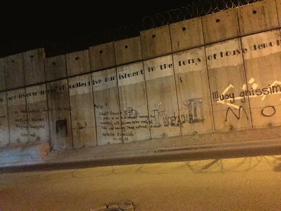 The aparthied wall that built by israeil to isolate Jeruslame from west bank Palestine