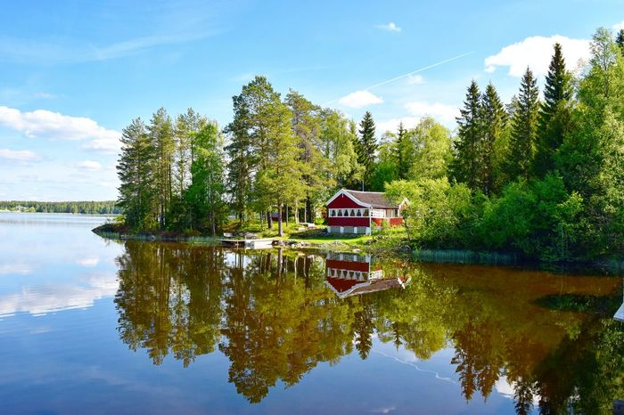 Water Reflections Trees Green Alone Time Umeå Sweden Springtime Lake Nydala Västerbotten Spring Afternoon Red House By The Lake Lakeview Lake Solo Adventure