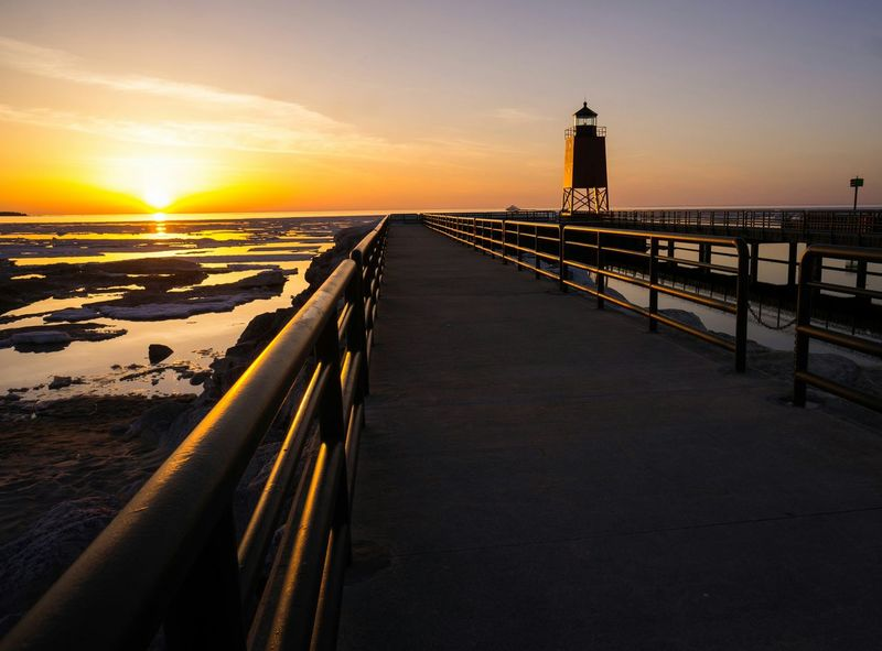 Scenic, Charlevoix Lake Michigan On The Beach Beach Pure Michigan Charlevoix Michigan Lake Michigan Lighthouse Light And Shadow Sunset Silhouettes Pier Learn & Shoot: Leading Lines