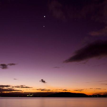 Jupiter Venus Sunset Lake View Colors Colorful Lake Macquarie