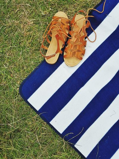 Striped High Angle View Outdoors Grass Picnic Picnic At The Park Picnic Blanket Sandal Summer Day Summer Summer Festival Shoes Off Outdoor Activity Summer Fun