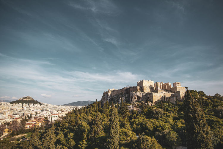 Athens Athens Greece Athens, Greece Acropolis Architecture Sky Building Exterior Built Structure Mountain Nature Building Tree Cloud - Sky Plant No People Day Outdoors Scenics - Nature Beauty In Nature History Land Residential District The Past Travel Destinations