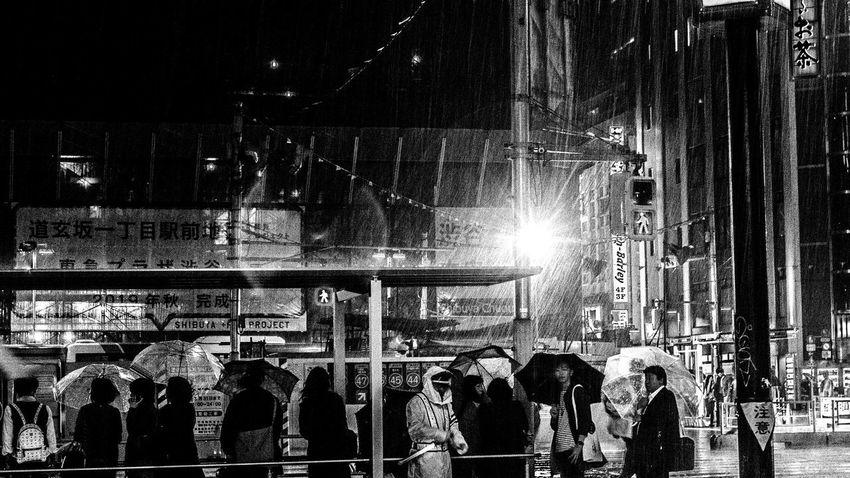 Warking Around Traffic Jam Crosswalk Rain Rainy Day Men Silhouette Close-up Office Building