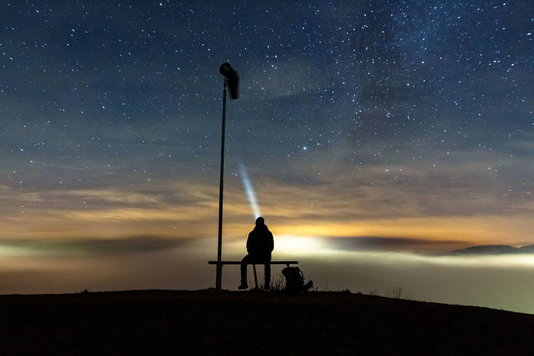 Astronomy Beauty In Nature Fog Full Length Galaxy Hiker Hiking Landscape Lonely Milky Way Nature Night Nightphotography One Man Only One Person Only Men Outdoors Photographer Rear View Silhouette Sitting Sky Space Star - Space Star Field Fresh On Market 2016